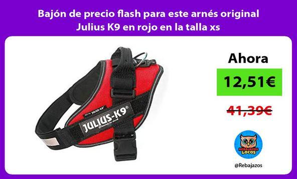 Bajón de precio flash para este arnés original Julius K9 en rojo en la talla xs