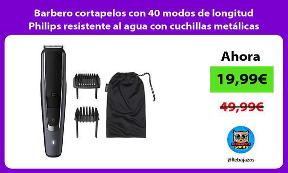 Barbero cortapelos con 40 modos de longitud Philips resistente al agua con cuchillas metálicas