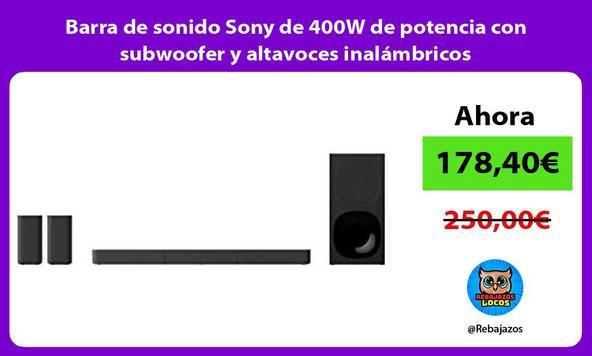 Barra de sonido Sony de 400W de potencia con subwoofer y altavoces inalámbricos