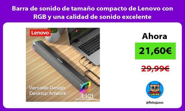 Barra de sonido de tamaño compacto de Lenovo con RGB y una calidad de sonido excelente