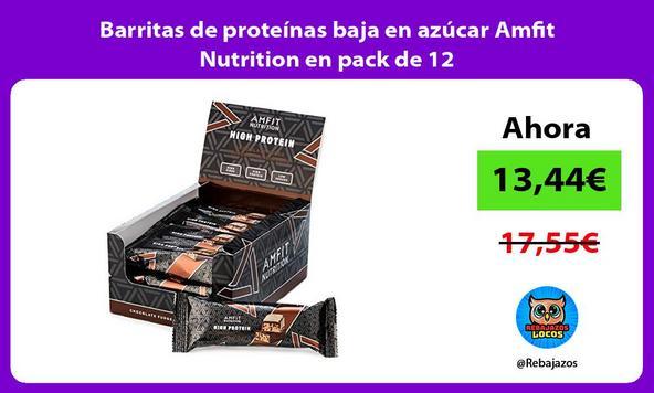 Barritas de proteínas baja en azúcar Amfit Nutrition en pack de 12