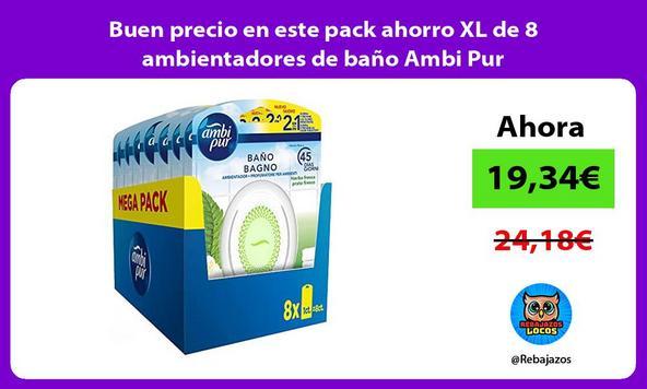 Buen precio en este pack ahorro XL de 8 ambientadores de baño Ambi Pur