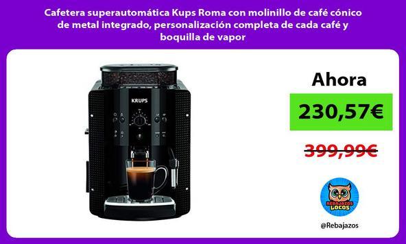 Cafetera superautomática Kups Roma con molinillo de café cónico de metal integrado, personalización completa de cada café y boquilla de vapor