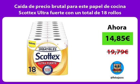 Caída de precio brutal para este papel de cocina Scottex Ultra fuerte con un total de 18 rollos