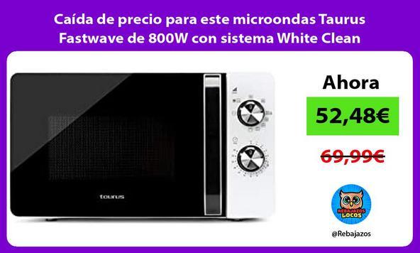 Caída de precio para este microondas Taurus Fastwave de 800W con sistema White Clean