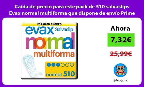 Caída de precio para este pack de 510 salvaslips Evax normal multiforma que dispone de envío Prime