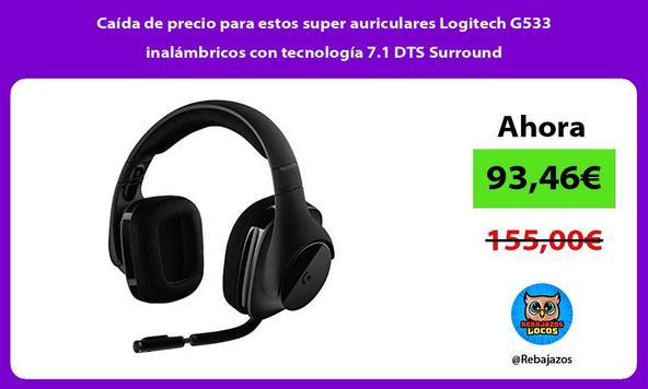 Caída de precio para estos super auriculares Logitech G533 inalámbricos con tecnología 7.1 DTS Surround