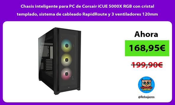 Chasis inteligente para PC de Corsair iCUE 5000X RGB con cristal templado, sistema de cableado RapidRoute y 3 ventiladores 120mm