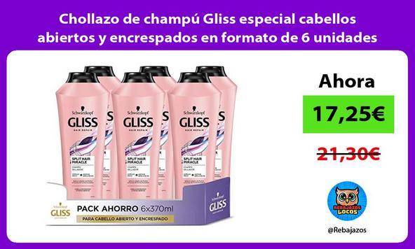 Chollazo de champú Gliss especial cabellos abiertos y encrespados en formato de 6 unidades