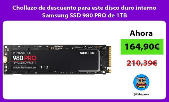 Chollazo de descuento para este disco duro interno Samsung SSD 980 PRO de 1TB