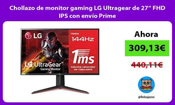 """Chollazo de monitor gaming LG Ultragear de 27"""" FHD IPS con envío Prime"""