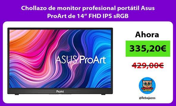 "Chollazo de monitor profesional portátil Asus ProArt de 14"" FHD IPS sRGB"