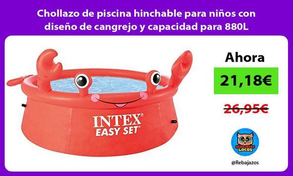 Chollazo de piscina hinchable para niños con diseño de cangrejo y capacidad para 880L
