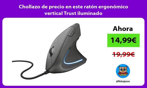 Chollazo de precio en este ratón ergonómico vertical Trust iluminado