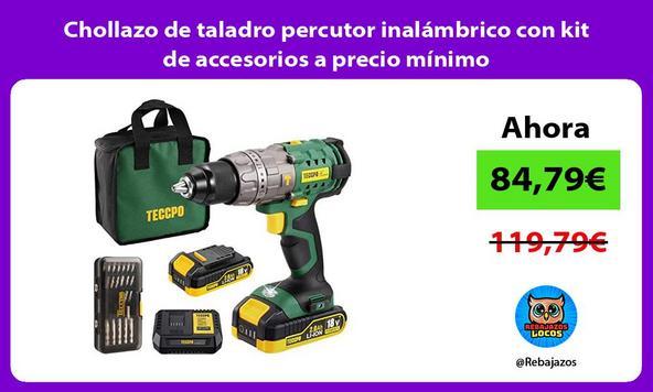 Chollazo de taladro percutor inalámbrico con kit de accesorios a precio mínimo
