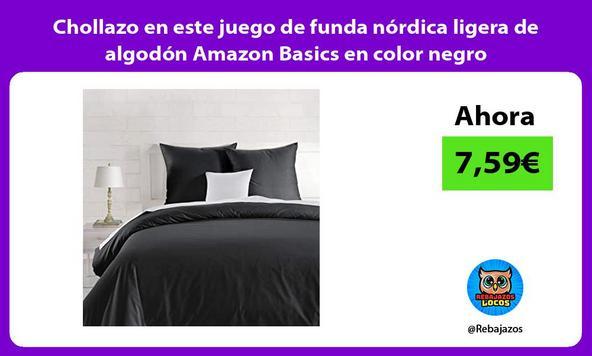 Chollazo en este juego de funda nórdica ligera de algodón Amazon Basics en color negro