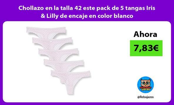 Chollazo en la talla 42 este pack de 5 tangas Iris & Lilly de encaje en color blanco