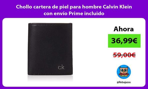Chollo cartera de piel para hombre Calvin Klein con envío Prime incluido