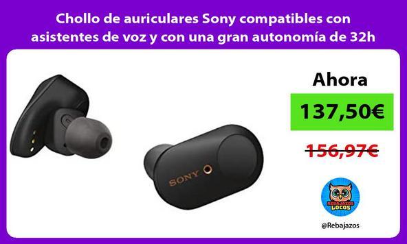 Chollo de auriculares Sony compatibles con asistentes de voz y con una gran autonomía de 32h