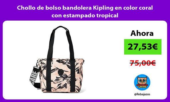 Chollo de bolso bandolera Kipling en color coral con estampado tropical