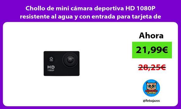 Chollo de mini cámara deportiva HD 1080P resistente al agua y con entrada para tarjeta de memoria