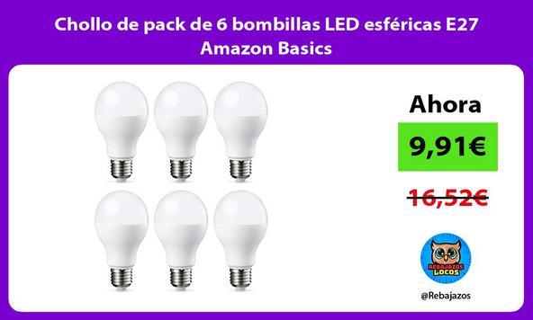 Chollo de pack de 6 bombillas LED esféricas E27 Amazon Basics