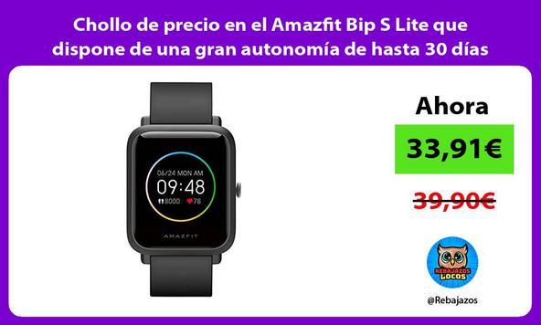 Chollo de precio en el Amazfit Bip S Lite que dispone de una gran autonomía de hasta 30 días