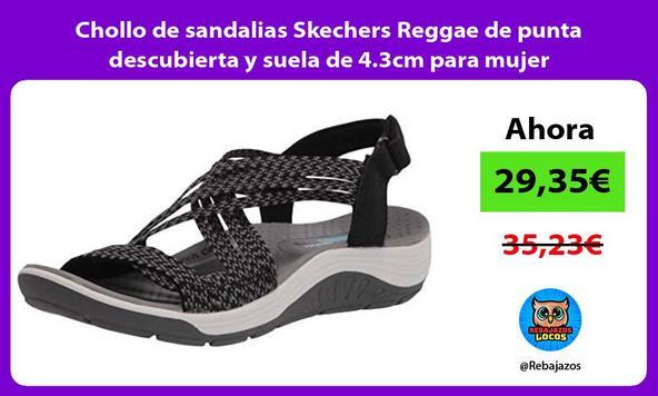 Chollo de sandalias Skechers Reggae de punta descubierta y suela de 4.3cm para mujer