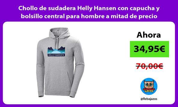 Chollo de sudadera Helly Hansen con capucha y bolsillo central para hombre a mitad de precio