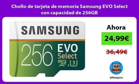 Chollo de tarjeta de memoria Samsung EVO Select con capacidad de 256GB