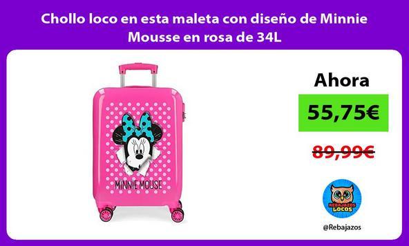 Chollo loco en esta maleta con diseño de Minnie Mousse en rosa de 34L