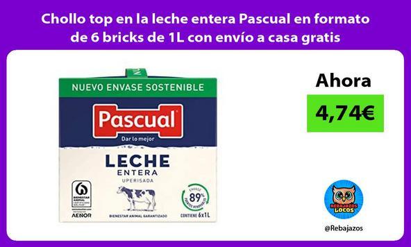 Chollo top en la leche entera Pascual en formato de 6 bricks de 1L con envío a casa gratis