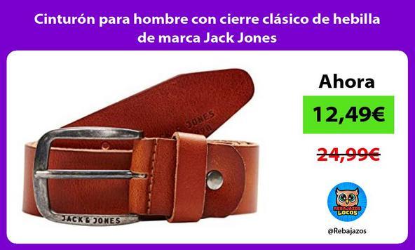 Cinturón para hombre con cierre clásico de hebilla de marca Jack Jones