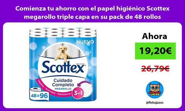 Comienza tu ahorro con el papel higiénico Scottex megarollo triple capa en su pack de 48 rollos