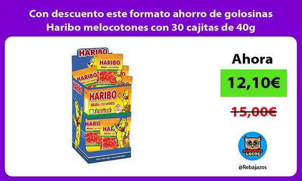 Con descuento este formato ahorro de golosinas Haribo melocotones con 30 cajitas de 40g
