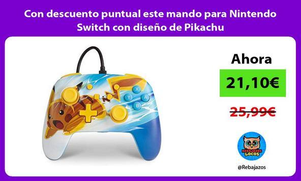 Con descuento puntual este mando para Nintendo Switch con diseño de Pikachu