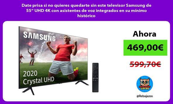 """Date prisa si no quieres quedarte sin este televisor Samsung de 55"""" UHD 4K con asistentes de voz integrados en su mínimo histórico"""