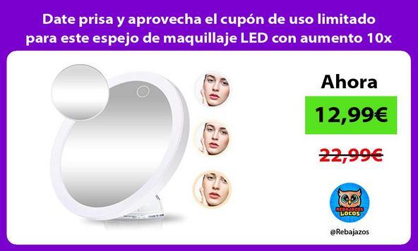 Date prisa y aprovecha el cupón de uso limitado para este espejo de maquillaje LED con aumento 10x