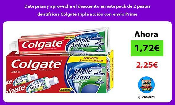 Date prisa y aprovecha el descuento en este pack de 2 pastas dentífricas Colgate triple acción con envío Prime