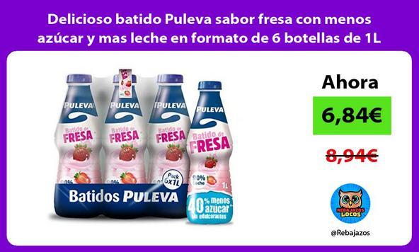 Delicioso batido Puleva sabor fresa con menos azúcar y mas leche en formato de 6 botellas de 1L
