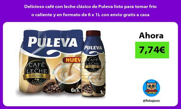 Delicioso café con leche clásico de Puleva listo para tomar frío o caliente y en formato de 6 x 1L con envío gratis a casa