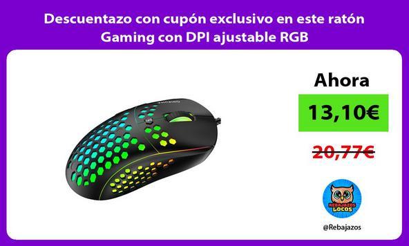 Descuentazo con cupón exclusivo en este ratón Gaming con DPI ajustable RGB