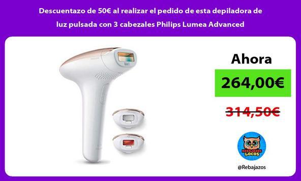 Descuentazo de 50€ al realizar el pedido de esta depiladora de luz pulsada con 3 cabezales Philips Lumea Advanced