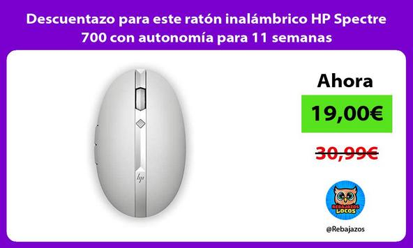 Descuentazo para este ratón inalámbrico HP Spectre 700 con autonomía para 11 semanas