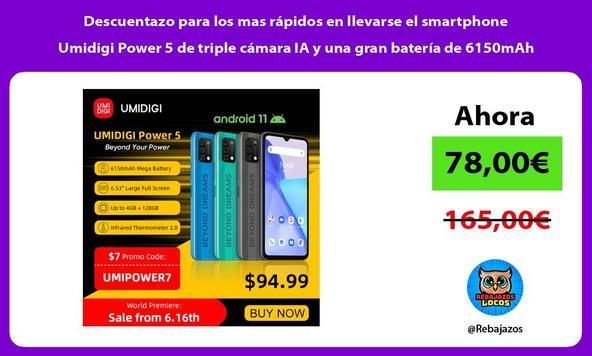Descuentazo para los mas rápidos en llevarse el smartphone Umidigi Power 5 de triple cámara IA y una gran batería de 6150mAh