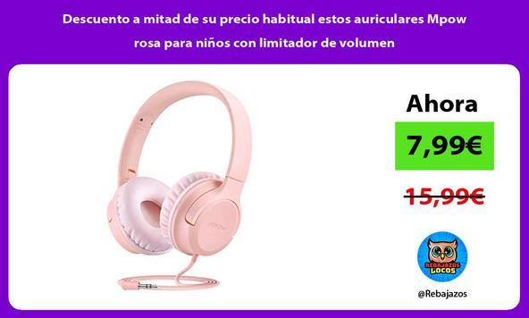 Descuento a mitad de su precio habitual estos auriculares Mpow rosa para niños con limitador de volumen