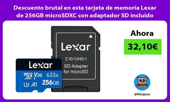 Descuento brutal en esta tarjeta de memoria Lexar de 256GB microSDXC con adaptador SD incluido