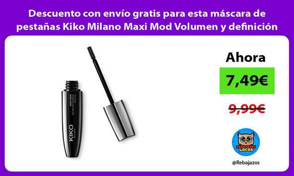 Descuento con envío gratis para esta máscara de pestañas Kiko Milano Maxi Mod Volumen y definición