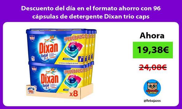 Descuento del día en el formato ahorro con 96 cápsulas de detergente Dixan trio caps