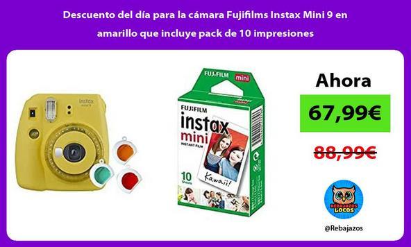 Descuento del día para la cámara Fujifilms Instax Mini 9 en amarillo que incluye pack de 10 impresiones